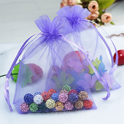 100pcs Drawstring Organza Gift Pouches for Wedding Party Favor, Gift,Jewelry, Candy, Tulle Bags (violet)