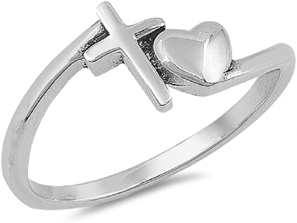 CloseoutWarehouse Rhodium Plated Surprise price Sterling Silver Heart and Cross Ranking TOP19