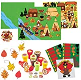 Our Fun and Festive Thanksgiving and Fall Classroom Activity and Craft Kit For 12 Kids Includes; 12- Make a Turkey Sticker Craft, 12- Thanksgiving Stampers 12- Thanksgiving Bear Sticker Scenes 24- Thanksgiving Fall Leaves Craft Kit Plus an Exclusive ...