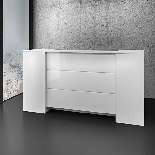 Preisvergleich Produktbild Weber Büro Empfangstheke Novum Edle Hochglanzfront LED-Multicolor Beleuchtung 2, 0 Meter Rezeption Empfangsstresen weiß