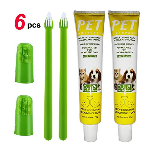 Puppycute 2 Pack Pet Toothbrush and Toothpaste for Dogs & Cats, Best Soft Silicone Pet Finger Toothbrush for Small Dogs Puppy Doggy, Dog Toothpaste Beef Flavor