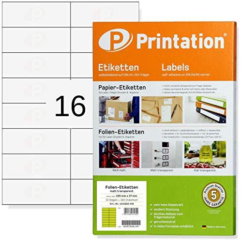 Etiketten 105 x 37 mm WETTERFEST transparent auf DIN A4 Bogen - 2 x 8 Stück/Seite 160 Folienetiketten 105x37 selbstklebend mit Laser Drucker bedruckbar (10)