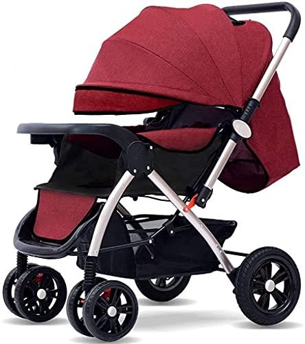 Cochecito de cochecito de alto paisaje, puede sentarse y sentarse y colocar ligero plegable 4 ruedas cochecito liviano, colgante paraguas bebé 0-4 años niñera silla (Color : Wine Red)