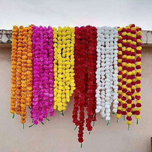 Buycrafty, ghirlande artificiali miste di fiori di calendula, lunghezza 1,5 m, per feste, celebrazioni, matrimoni indiani, eventi a tema indiano, decorazioni, casa natale