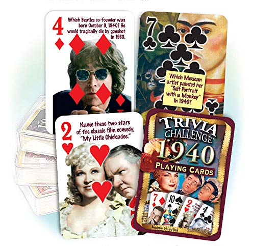 1940 Trivia Playing Cards