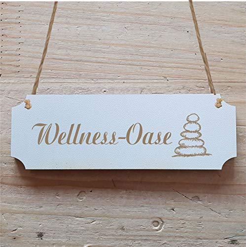 Bord « Wellness OASE » ca. 20 x 6,7 cm - met motief zenstenen - deurbord decoratiebord geschenk - badkamer woonkamer praktijk therapie yoga spa