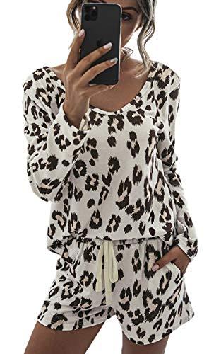 ECOWISH Summer Women Short Pajamas set Long Sleeve Tops and Shorts PJ Set 2 Piece Sleepwear Casual Nightwear Leopard X-Large