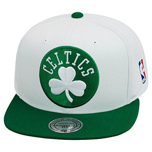 Mitchell & Ness Boston Celtics Snapback Hat White/Green/Green XL Logo