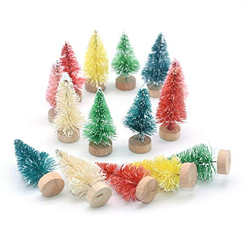 Christmas tree 5pcs Multicolor Christmas Tree Home Ornaments Wooden Plastic Tree DIY Crafts for Xmas Party Decor New Year Gift Pencil Tree (Color : 6.5cm Green)