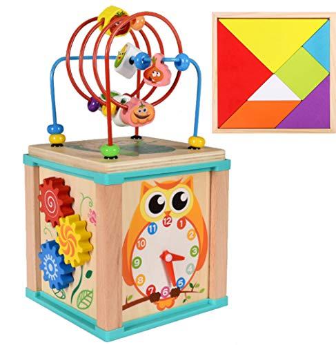 Ronzetti Cubo de Actividades de Madera, Centro Educativo 5 en 1 para Bebés y Niños de 1, 2, 3 años de Edad, Aprende Jugando. Juguete Educativo para el Desarrollo + Tangram Puzzle +3 años.