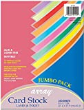 "Pacon Card Stock, Colorful Jumbo Assortment, 10 Colors, 8-1/2"" x 11"", 250 Sheets"