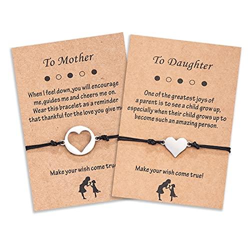 Lovmore Set di bracciali per 2/3, con scritta in lingua inglese 'Mama' e mich ritorno a scuola, regalo per figlia di mamma, Nylon,