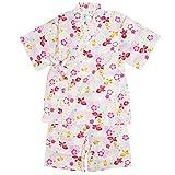 甚平 子供 キッズ 女の子 綿100% 日本製生地 スーツ上下 祭 子供甚平 桜金魚/白-9200 130cm