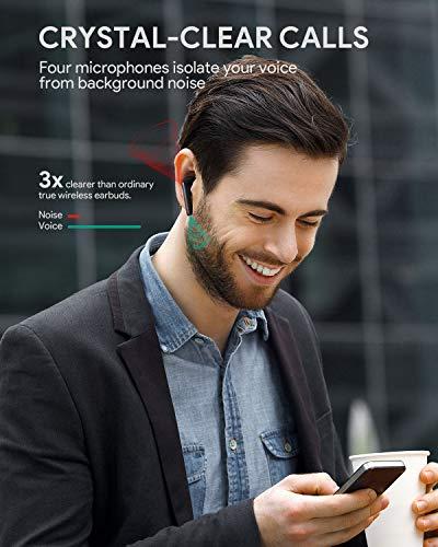 AUKEY Cuffie Bluetooth 5 Cancellazione Attiva del Rumore, Auricolari Senza Fili con 4 Microfoni, 35 Ore di Riproduzione, IPX5 Impermeabili, Type-C Cuffie Wireless per iPhone, Samsung