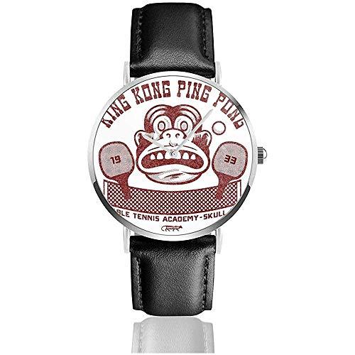 Unisex King Kong Ping Pong Relojes Reloj de Cuero de Cuarzo con Correa de Cuero Negro