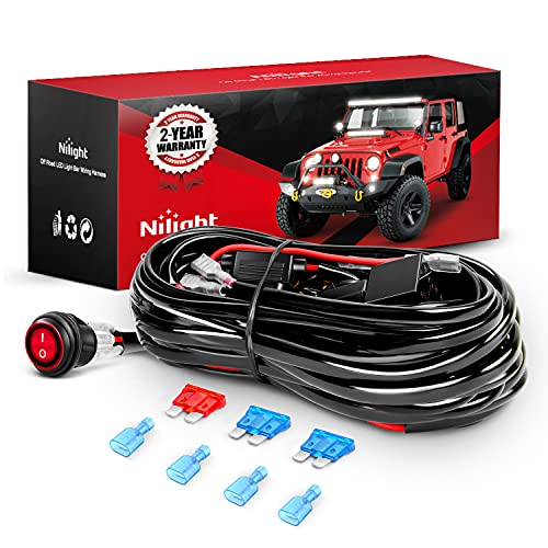 Nilight - NI -WA 06 LED Light Bar Wiring Harness Kit - 2 Leads 12V On Off Switch Power Relay Blade Fuse for Off Road Lights LED Work Light, 2 Years Warranty