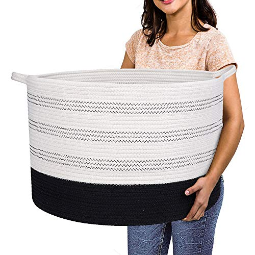 Extra Large Storage Basket - 22' X 22'X 14' XXXL Extra Large Toy Storage Basket - Woven Laundry Basket with Handles - Extra Large Decorative Basket for Blankets,Round,Soft,for Kid's Living Room