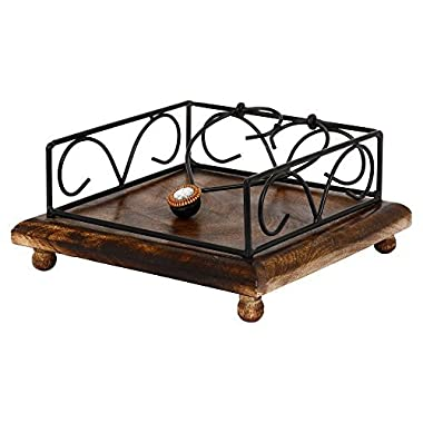 GoCraft Handmade Wood & Iron Napkin Holder for Napkin and Tissue papers