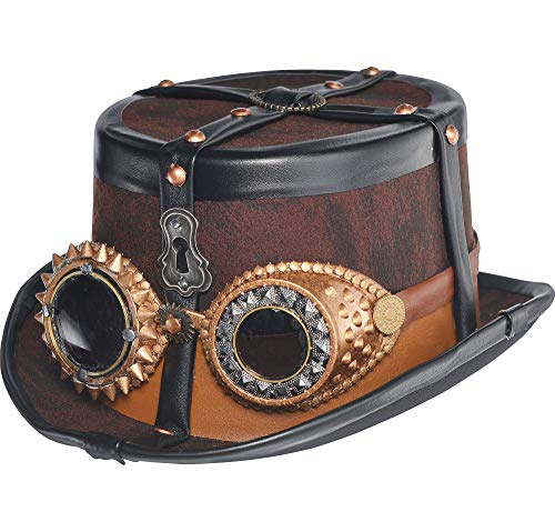Steampunk Top Hat Deluxe Halloween Costume Accessories, One Size, by Amscan
