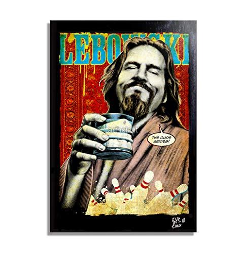 Il Drugo (Jeff Bridges) dal Film Il Grande Lebowski - Quadro Pop-Art Originale con Cornice, Dipinto, Stampa su Tela, Poster,...
