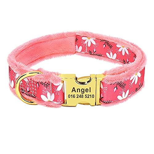 JIETAOMY Collar Perros Cuello de Perro Acolchado de Franela Personalizado Impreso de Placa de identificación grabada IDENTIFICACIÓN Cuello de Etiqueta Anti-perdido para Perros Grandes Grandes