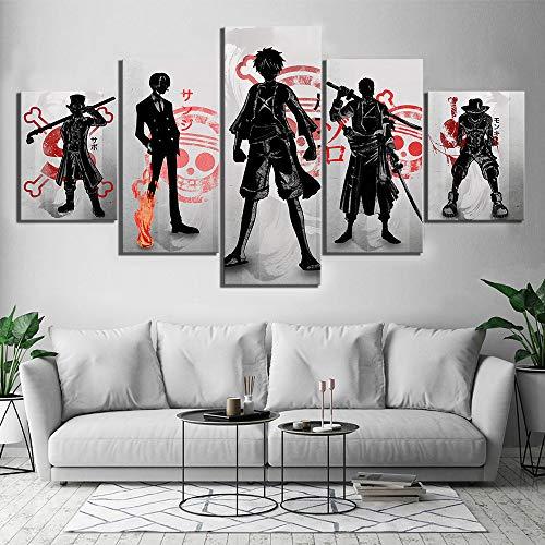 5 Stücke One Piece D. Ruffy Leinwand HD-Drucke Bilder Wandkunst Gemälde Anime Poster Wohnzimmer Wohnkultur,A,30×50×2+30×70×2+30×80×1