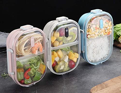 OldPAPA Fiambrera Infantil Acero Inoxidable Prueba de Fugas Bento Caja de Almuerzo con 2 Compartimentos Envase del bocado de la Comida para Adultos, Durable Rosado