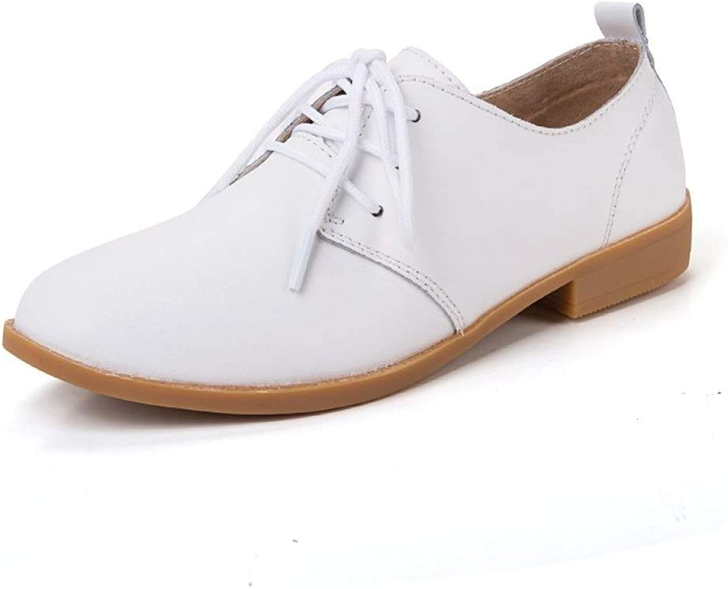 Fay Waters Leather Oxfords for Women Lace Up Round Toe Low Heel Plain Tone Flat shoes