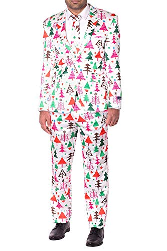 NOROZE Mens Slim Fit Novelty Fancy Dress Christmas Suit Costume (M, White Tree)