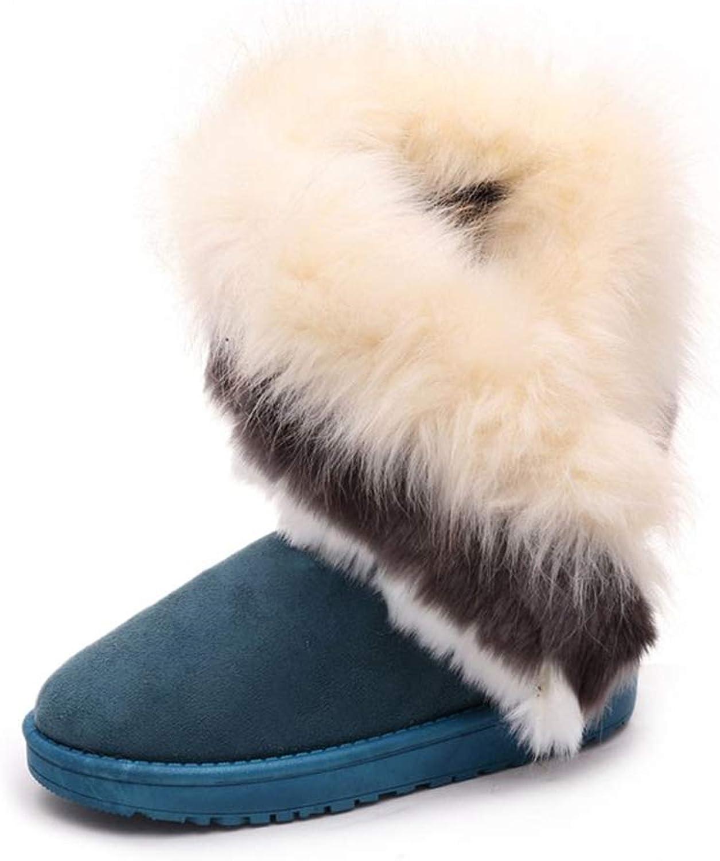 KAOKAOO Women's Casual Fur Martin Boots Warm Cotton shoes
