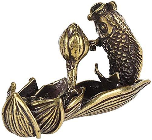 kglkb Escultura Decorativa Salon,Estatuilla Retro DeCarpa De LotoDecoración del Hogar Feng Shui Hacer Dinero Regalo Proceso De Escultura Regalo Decoración Estatua Pez