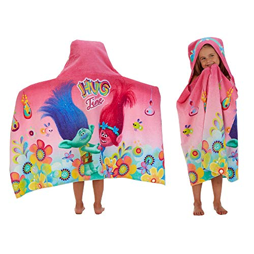 Franco Kids Bath and Beach Cotton Terry Hooded Towel Wrap, 24' x 50', Trolls