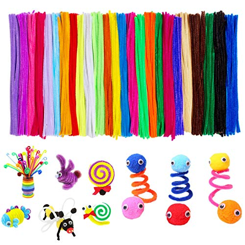 Acerich 500 Pcs Pipe Cleaners Colored Chenille Stems for DIY Art Crafts (6 mm x 12 Inch)