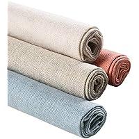 Tela de lino natural, 4 piezas, 20 pulgadas, tela de costura para hacer prendas de vestir, cortina para boda, decoración del hogar, patchwork, tapicería, macetas, decoración y mantel, 4 colores