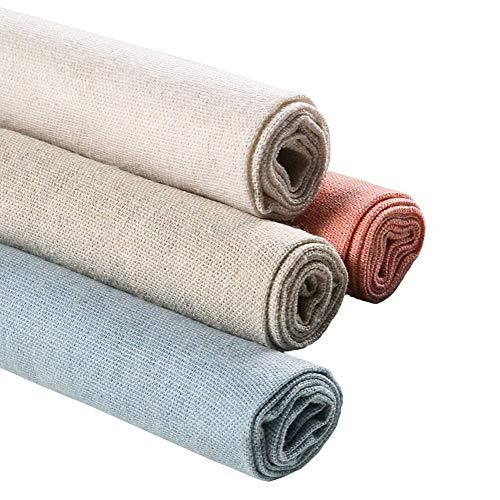 Tessuto di lino naturale, per realizzare lavori di cucito, artigianato, sartoria, tende, patchwork, abbigliamento, tappezzeria, per decorare la casa, vasi di fiori e tovaglie, 4 pezzi, 51 cm, 4 colori