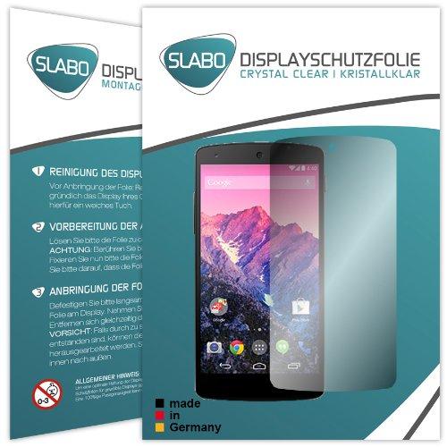 Slabo 2 x Bildschirmschutzfolie LG Google Nexus 5 Bildschirmschutz Schutzfolie Folie Crystal Clear unsichtbar Made IN Germany