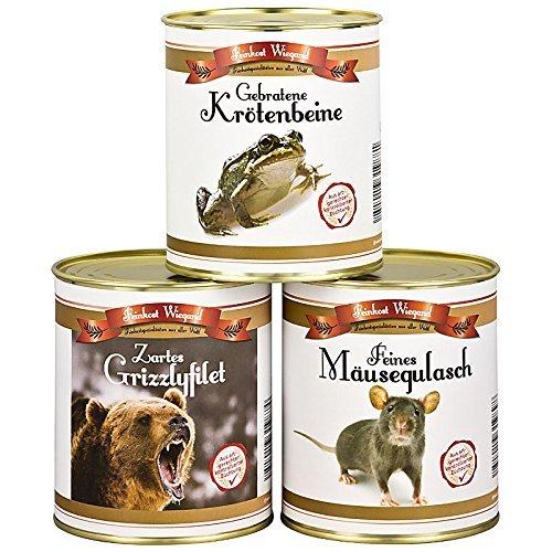 3er Set aus der Dose - Krötenbeine, Mäusegulasch, Grizzlyfilet - Scherzartikel - Spaßgeschenk - Weihnachtsgeschenk - Geburtstagsgeschenk - Wichtelgeschenk