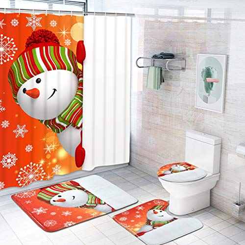 Dekoresyon 4 Pcs Merry Christmas Shower Curtain Sets with Non-Slip Rugs, Toilet Lid Cover, Bath Mat and 12 Hooks Snowman Snowflake Shower Curtain for Christmas Decoration
