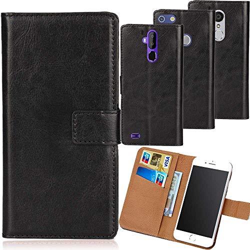 Dingshengk Schwarz Premium PU Leder Tasche Schutz Hülle Handy Hülle Wallet Cover Etui Ledertasche Für Crosscall Trekker-X4 5.5
