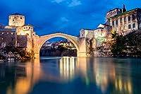 大人のパズル1000ピース-ボスニア・ヘルツェゴビナ川の家は、大人、家族、子供のための橋のジグソーパズルです。教育ゲーム玩具の家の装飾(27.56inx19.69in)