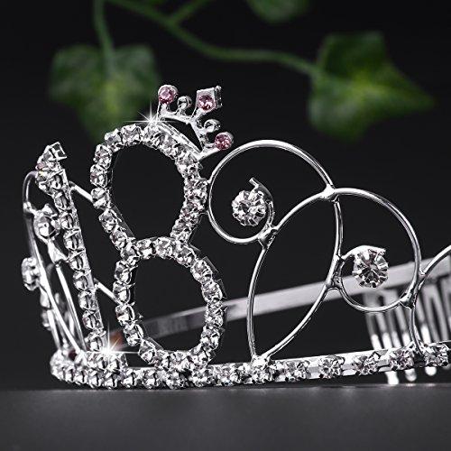 Frcolor Alles Gute zum Geburtstag 18. Silber Kristall Tiara Krone - 3