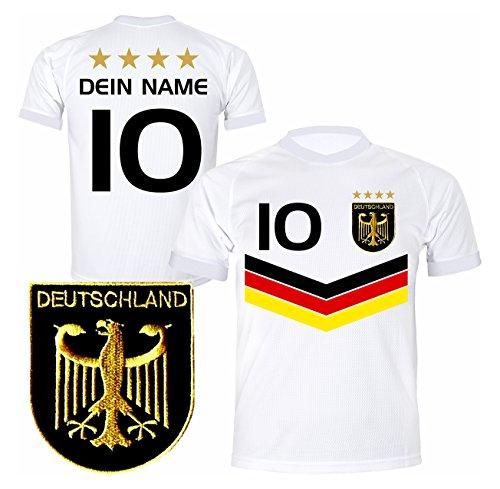 DE FANSHOP Deutschland Trikot mit GRATIS Wunschname + Nummer #DV2 2021/2022 EM/WM Weiss - Geschenk für Kinder Jungen Baby Fußball T-Shirt personalisiert