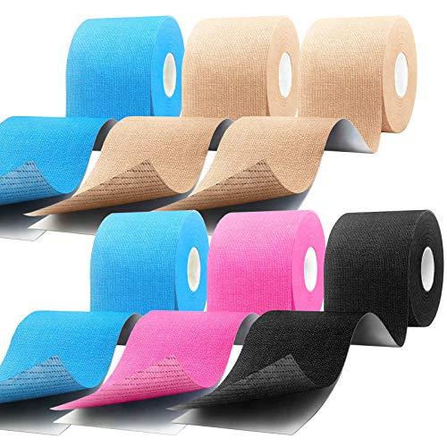 CHOIMOKU 6巻入 キネシオテープ 50mm テーピング 伸縮 50mm スポーツ テープ 5cm x 5m テーピングテープ キネシオ テープ 筋肉・関節をサポート キネシオロジーテープ 伸縮性強い 汗に強い (ベージュ/ブルー/ブラック/ピンク)