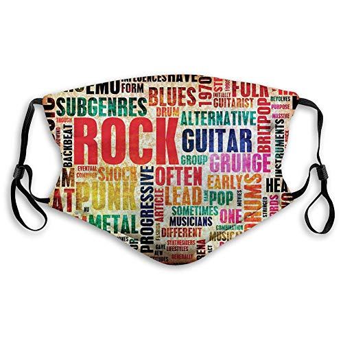 Women Men Multifunctional Half Face Bandana Reusable 3D Print Breathable Dust Protective Face Covering,Retro Rock and Roll Symbol Lettering Grunge Style Distressed