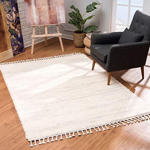 MyShop24 Teppich Wohnzimmer Shaggy Creme - 200x290cm - Schlafzimmer Hochflor - mit Fransen Flauschig Meliert Muster - Oeko Tex 100 Standard - Allergiker geeignet