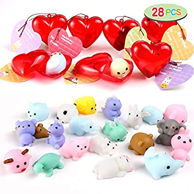 28 Pcs Kids Valentine Mochi Squishy Set Includes 28 Mochi Squishies Filled Hearts and Valentine Cards for Kids Valentine Classroom Exchange Party Favors, Kawaii Stress Relief Toys for Valentine Gift Exchange, Game Prizes and Carnivals Gift