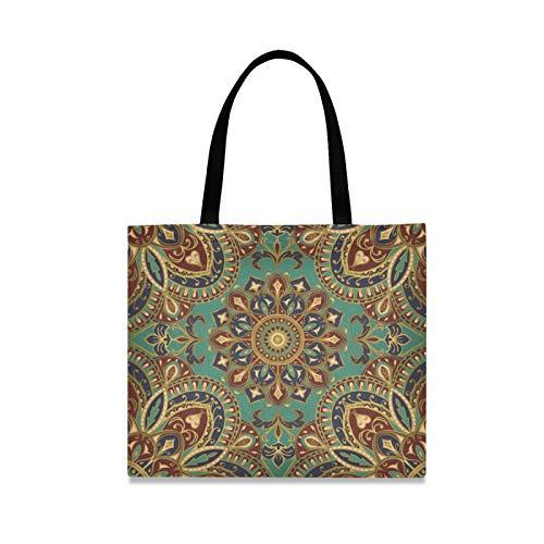 RURUTONG Mandala estilo indio folk-personalizado lona bolsa para mujeres niñas Boho precioso tótem misterioso magia bien hecho multiusos reutilizable comestibles playa compras bolso 2010015