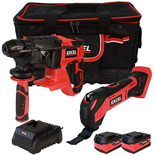 Excel 18V Power Tool Cordless Twin Pack SDS Plus Rotary Hammer and Multi Tool with 2 x 5.0Ah Batteries & Charger in Bag EXL5102
