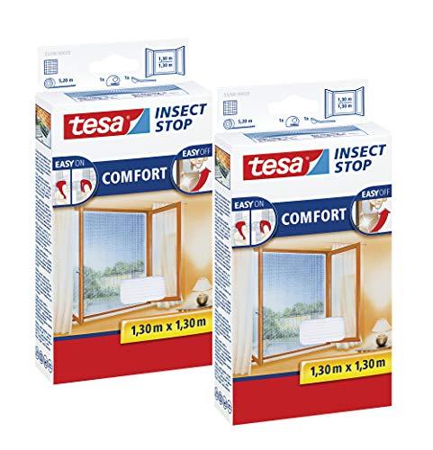 tesa Insect Stop COMFORT Fliegengitter Fenster - Insektenschutz mit Klettband selbstklebend - Fliegen Netz ohne Bohren (130 cm x 130 cm, 2er Pack/Weiß (Leichter Sichtschutz))