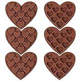 FANDE Molde de Silicona Love, Molde de Silicona para Pastel de marrón de 10 Orificios, Utilizado para Hacer Chocolate, Pastel, Gelatina, Dulces del día de San Valentín (6 Piezas)